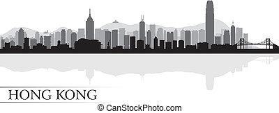 香港, 都市 スカイライン, シルエット, 背景