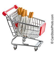 香煙, 在, 購物車