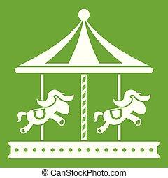 馬の乗車, 緑, 丸い陽気な碁, アイコン