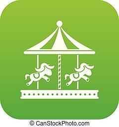馬の乗車, 緑, 陽気, デジタル, 行きなさい, ラウンド, アイコン
