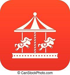 馬の乗車, 陽気, デジタル, 行きなさい, ラウンド, 赤, アイコン