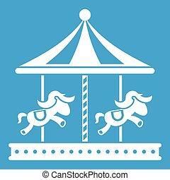 馬の乗車, 陽気, 行きなさい, 白, ラウンド, アイコン