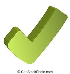 馬克, 綠色, 檢查, 3d