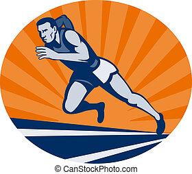 馬拉松, 賽跑的人, 在軌道上, 由于, sunburst, 觀看, 從, an, 極端, 低, angle.