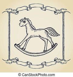 馬, おもちゃ, 木製である, クリスマス, 羊皮紙, カード