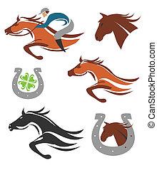 馬, アイコン, 競争