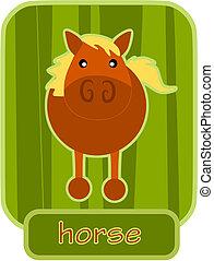 馬, -, アイコン, 緑, 単純である, バックグラウンド。