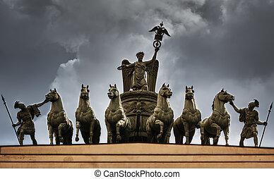 馬, アーチ, st. 。 petersburg, triumphal, 彫刻