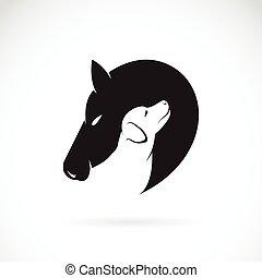 馬, イメージ, 犬, ベクトル, 背景, 白