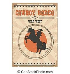 馬, カウボーイ, テキスト, .western, ポスター, ロデオ, 型, 野生, 乗馬