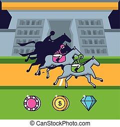 馬, カジノチップ, ゲーム, レース