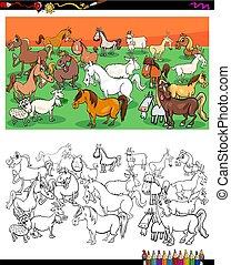 馬, グループ, 色, 本, 特徴, ヤギ