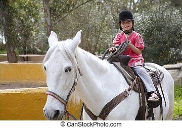 馬, ジョッキー, 公園, わずかしか, ライダー, 白い帽子, 女の子