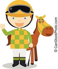 馬, スポーツ, illustrations:, 漫画, ベクトル, 競争