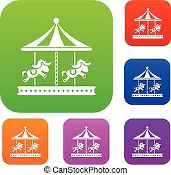 馬, セット, 乗車, コレクション, 丸い陽気な碁