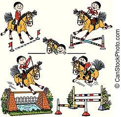 馬, セット, 漫画, 跳躍, ショー