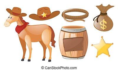 馬, セット, 西部, 要素, カウボーイ