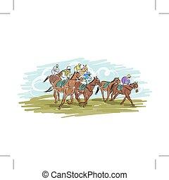 馬, デザイン, 競争, スケッチ, あなたの