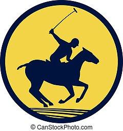 馬, プレーヤー, レトロ, ポロ, 乗馬, 円