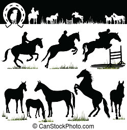 馬, ベクトル, -, シルエット