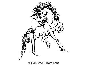 馬, ベクトル, シルエット, 動くこと, イラスト
