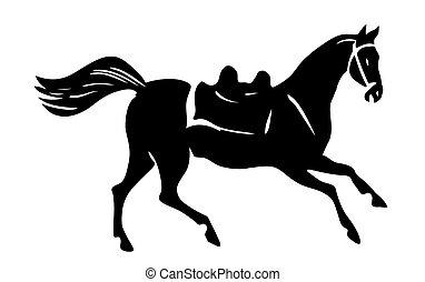 馬, ベクトル, シルエット, 白い背景