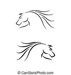 馬, ベクトル, set., emblem.