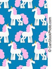 馬, マジック, seamless., パターン, 装飾, 角, ベクトル, 背景, 一角獣, head.