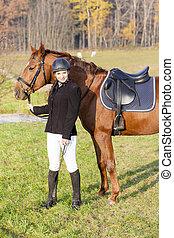 馬, 乗馬者, 彼女, 牧草地