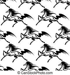 馬, 優美である, 黒, seamless, パターン