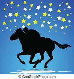 馬, 在, 比賽, 矢量, 黑色半面畫像