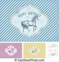 馬, 型, birthday, ベクトル, レトロ, 招待, カード