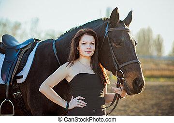 馬, 女, 若い, 自然