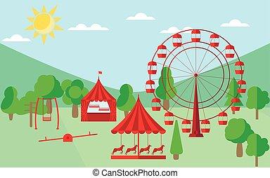 馬, 平ら, 車輪, メリーゴーランド, 公園, イラスト, フェリス, ベクトル, 娯楽, style., swing.