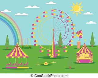 馬, 平ら, 車輪, メリーゴーランド, 日当たりが良い, 公園, イラスト, フェリス, ベクトル, rainbow., 娯楽, 天候, style., swing.