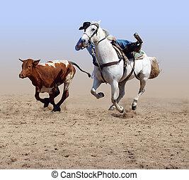 馬, 彼の, 離れて, カウボーイ, 後で, 到来, 舵を取りなさい