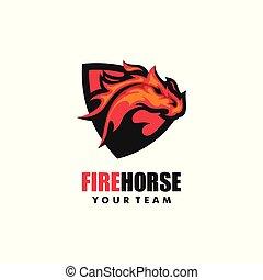 馬, 概念, 火, イラスト, ベクトル, デザイン, テンプレート
