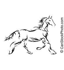 馬, 符號, 矢量, 插圖