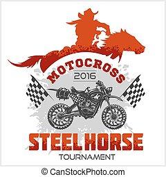 馬, 紋章, トーナメント, -, moto, 背景, motocross, 白い tシャツ