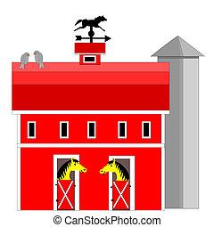 馬, 納屋, サイロ