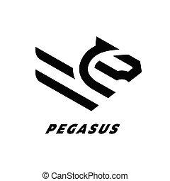 馬, 線である, 飛行, ベクトル, pegasus, logo., illustration.
