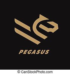 馬, 線である, 飛行, 暗い, バックグラウンド。, pegasus, ロゴ