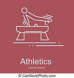 馬, 練習, 運動選手, 競争, ベクトル, 体操, イラスト, スポーツ, くら頭