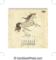 馬, 芸術, november., デザイン, カレンダー, あなたの, 2014