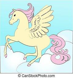 馬, 著色, 天空, 飛行, 插圖, 書,  pegasus, 仙女, 翅膀, 上色