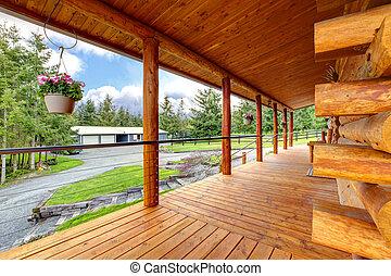 馬, 農場の家, 長い間, porch., キャビン