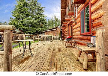 馬, 農場, deck., 無作法, 木, キャビン