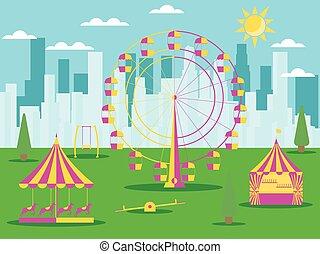 馬, 都市, 車輪, メリーゴーランド, skyscrapers., 魅力, 公園, イラスト, フェリス, ベクトル, 背景, swing.