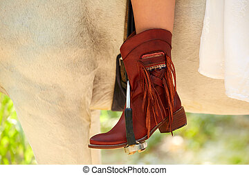 馬, 革, ブーツ, ライダー, 女性, 偶然