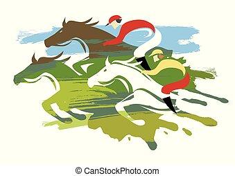 馬, 馬, フルである, 競争, 3, speed.